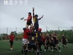練習試合 VS広島クラブ ラインアウト競り合う榎木